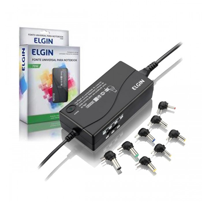 Fonte Universal Elgin FTE-02 - p/ Notebook 70W, com 8 adaptadores
