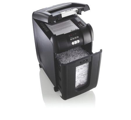 Fragmentadora de Papel Automática Swingline 250X 110V - Corta até 8 fls manualmente e até 250 fls automaticamente em Partículas N3, CD/ DVD/ Cartão/ Clipes/ Grampos, Cesto: 40L, Fenda: 229mm, Funciona