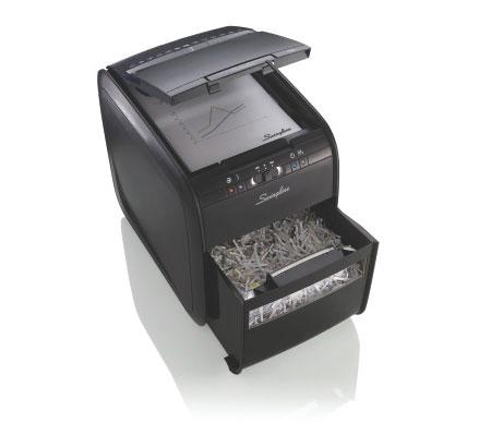 Fragmentadora de Papel Automática Swingline 80X 127V Corta até 6 fls manualmente e até 80 fls automaticamente em Partículas N3, CD DVD CC Clipes Grampos, Cesto: 20L, Fenda: 229mm