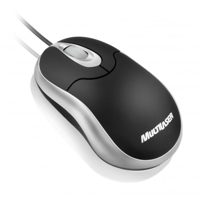 Mini Mouse Óptico Emborrachado USB Multilaser MO118 - Preto e Prata