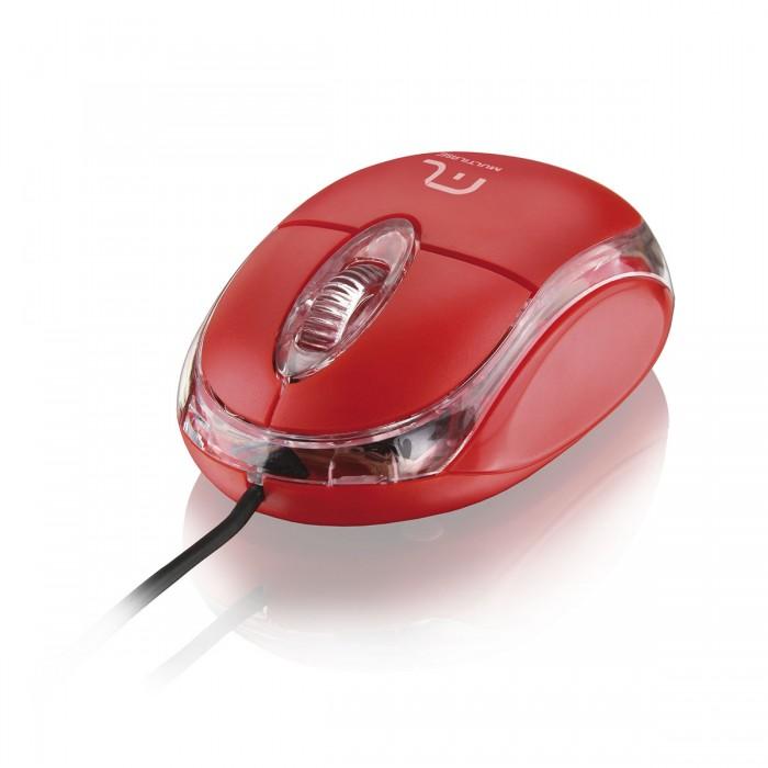 Mouse Multilaser Óptico Classic USB Vermelho MO003