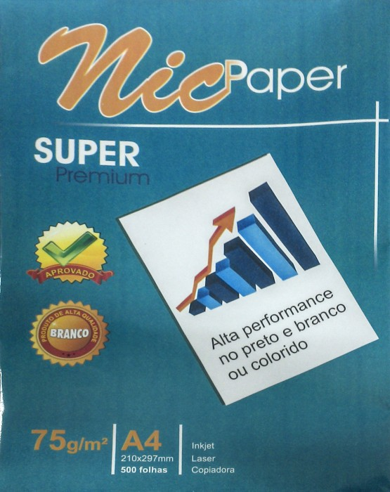 Papel Sulfite A4 75gr 210x297 Office caixa c/ 5000 folhas Branco NIC Paper