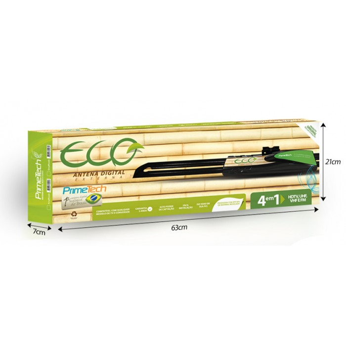 Antena Externa Prime Tech Eco - Simplificada, 4x1 (UHF - VHF - FM - Digital), Sinal Digital / Analógico (Cod: 6874)