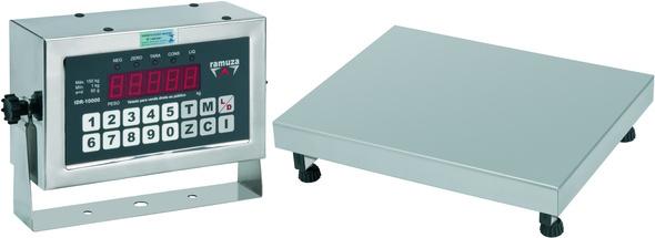 Balança Industrial Plataforma Digital de Aço Inox 304 Ramuza Capacidade de 200Kg base de 50x50cm IDR de Ferro