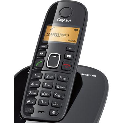 Telefone sem Fio com Identificador de Chamadas Ramal Siemens Gigaset A390 Trio Preto