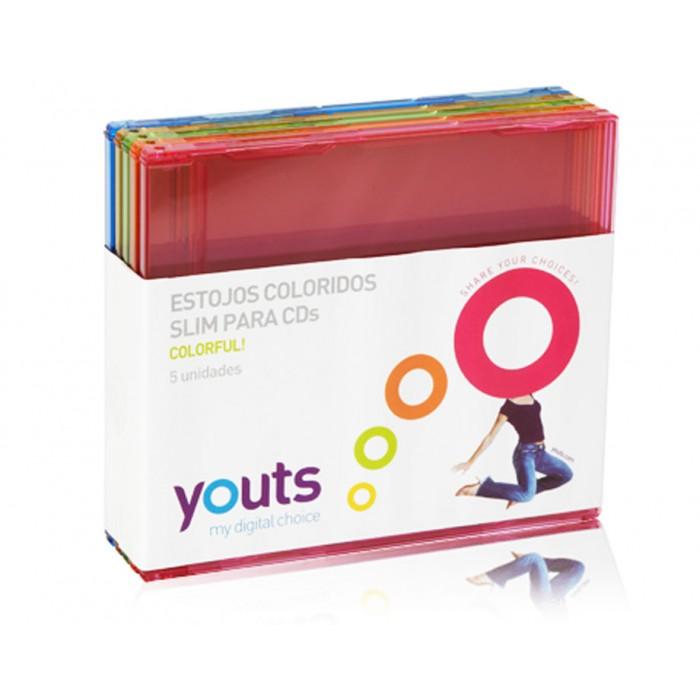 Embalagem para CD Slim Youts colorful - Pack com 5