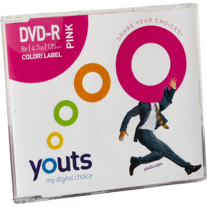DVD-R Youts Slim Color Label Pink