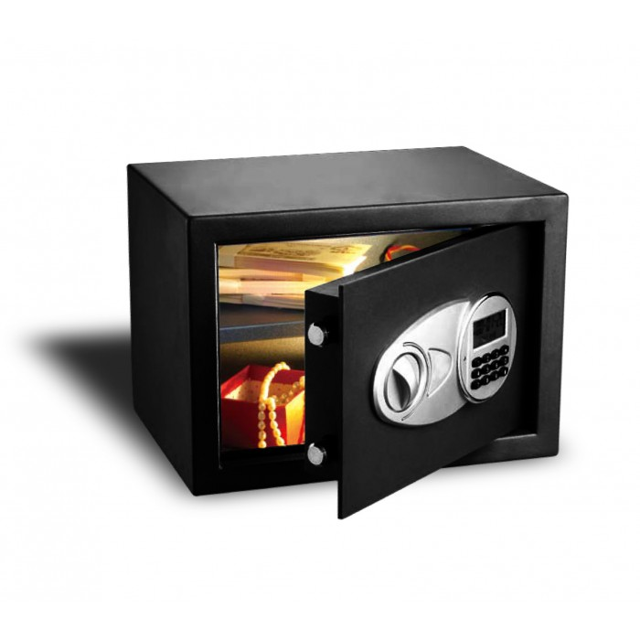 Cofre Safewell Eletrônico com tela LED 25EID - Medidas Externas (AxCxP): 250x350x250mm, Capacidade: 16L, Código de 3 a 8 dígitos