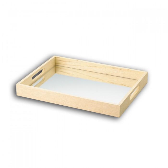 Bandeja WOLFF Woodart Rojemac 11515 - Dimensões: 40x30x4,5 cm, Cor: Marfim com espelho