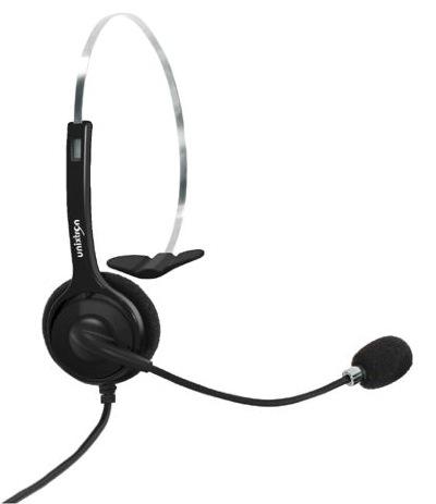 Headset Monoauricular Cygnus Flex Unixtron - Tiara em aço inox, ajustável, haste flexível, microfone com cancelador  de ruídos e conector rj11
