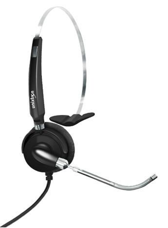 Headset Monoauricular HM-Voice (M) Unixtron - Tiara em aço inox, ajustável, haste flexível, tubo de voz, giro de 340 graus,com proteção de ruídos e conector p2 de 3,5mm