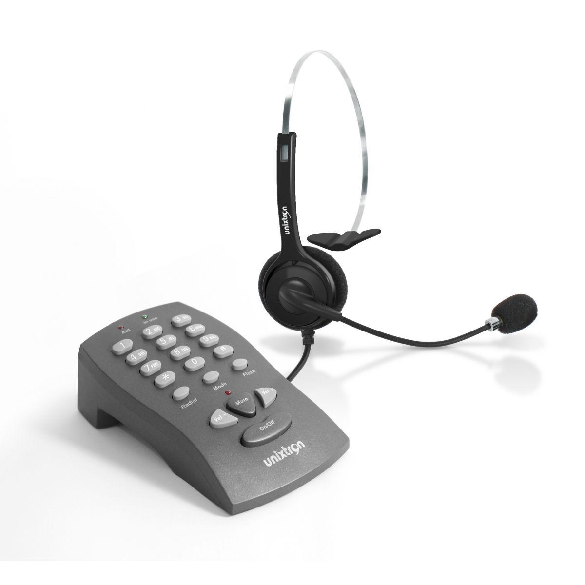 Base Discadora Orion Unixtron - funções flash 100,300 e 600ms, redial,mute, controle de volume, ajuste externo de transmissão com headset Cygnus Flex