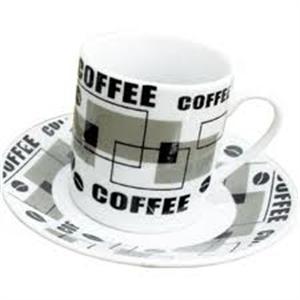 Jogo de 6 Xícaras de Café 90ml com Pires Bon Gourmet Coffee Rojemac 1645