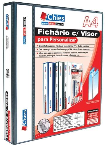 Fichário com Visor Chies para Personalizar - 4 Argolas - A4 - Preta Ref.:1399-1