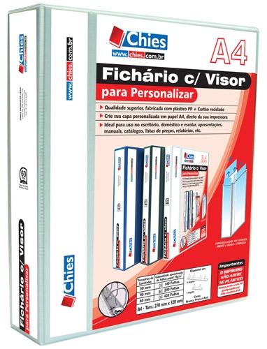 Fichário Chies com Visor para Personalizar - 4 Argolas - A4 - Branca Ref.: 1379-3