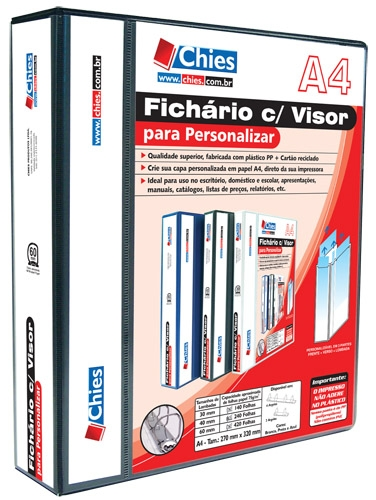 Fichário Chies com Visor para Personalizar - 4 Argolas - A4 - Preta - Ref.: 1401-1