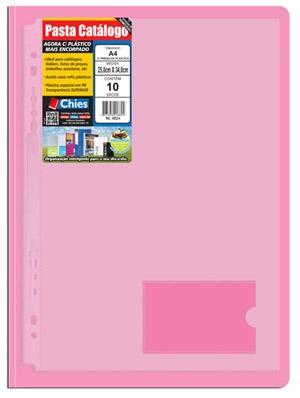Pasta Catálogo Chies com Presilha Plástica - Rosa - Ref.: 4033-1