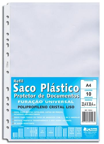 Protetor de Documentos Chies Furação Universal A4 - Cristal Liso - 10 unidades - Ref.: 1592-6