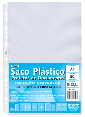 Protetor de Documentos Chies Furação Universal A4 (pact.c/50 pçs.) - Cristal Liso - Ref.: 1360-1