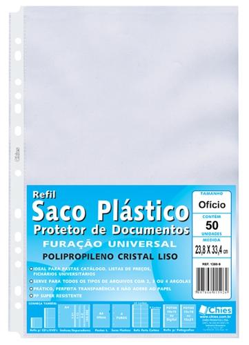 Protetor de Documentos Chies Furação Universal OF (pact.c/50 pçs.) - Cristal Liso - Ref.: 1380-9