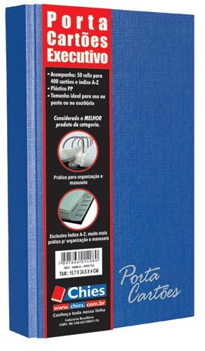 Porta Cartões Chies Executivo p/400 Cartões c/indice - Azul Royal - Ref.: 1581-0