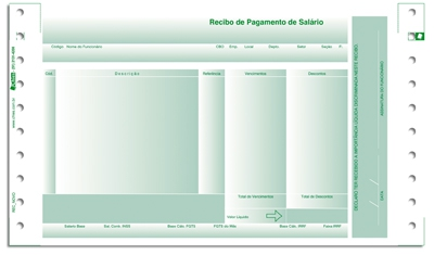 Recibo Pgto Sal�rio Chies c/ Envelope c/Carbono - 02 via Verde (LAB4) - Ref.: 1754-8