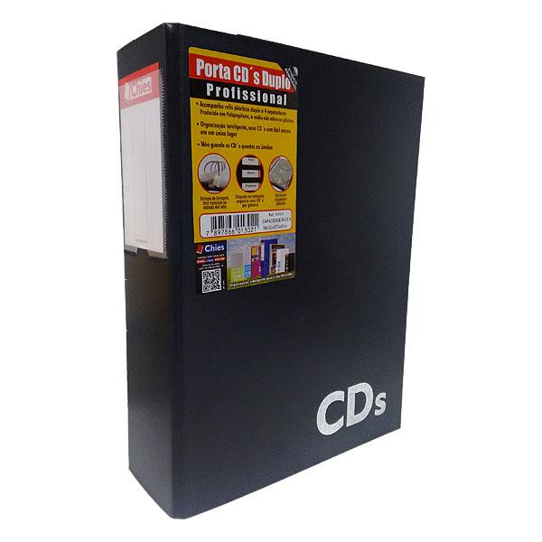 Porta CDs Chies Profissional Duplo Jumbo c/4 separadores e refis p/80 CDs Preto - Ref.: 1302-1