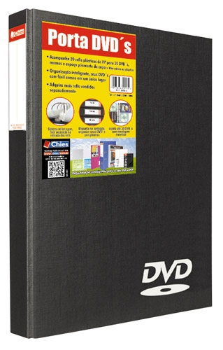 Porta DVD�s Chies - 20 DVD�s Preto - Ref.: 1410-3