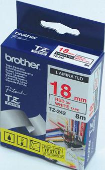 Fita Flexível Brother TZFX-242 - Largura: 18mm, Vermelho sobre Branco, Comprimento: 8m