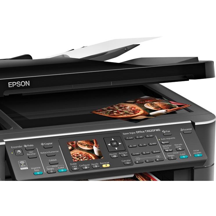 Multifuncional Epson Stylus Office TX620FWD Impressora Duplex Color de Alta Velocidade, Fax, Scanner, Copiadora, Rede Eternet, WiFi, Bluethooth, Cartão de Memória, Display (100% compatível com Bulk)