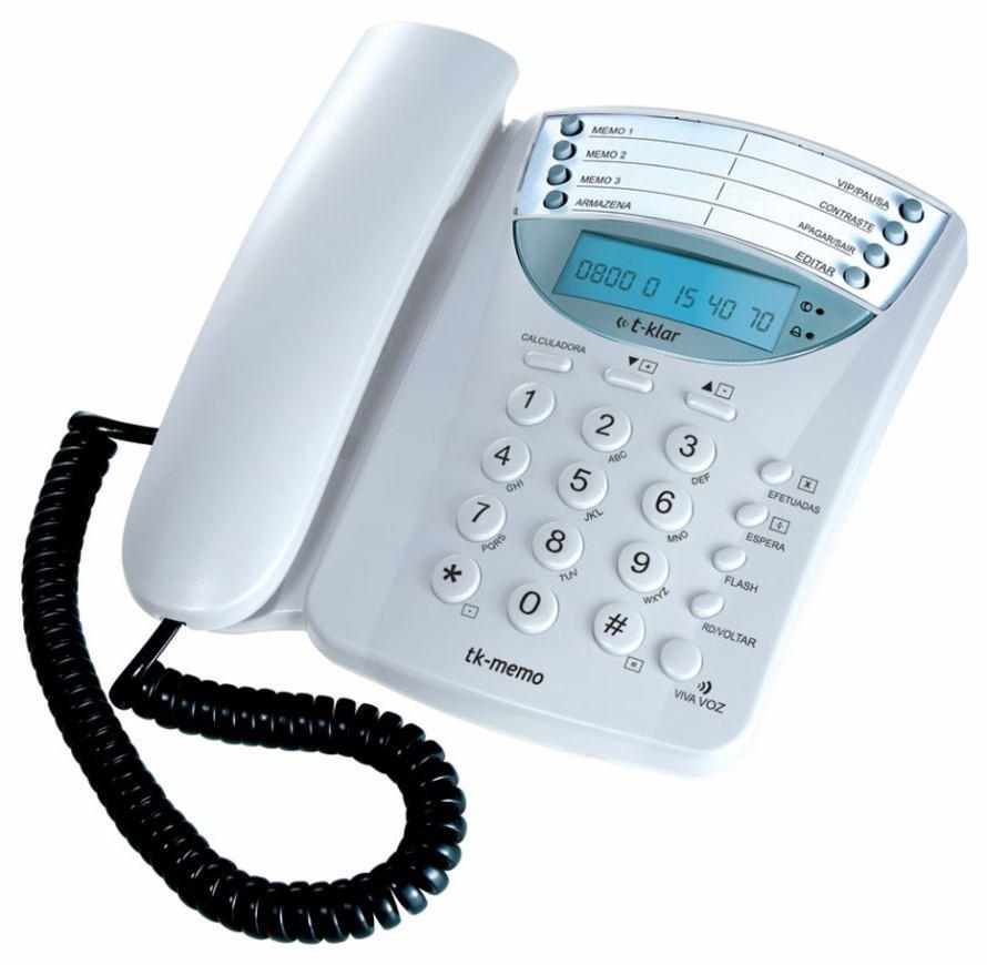 Telefone Multifuncional com fio T-Klar TK-Memo Branco viva voz, identificador de chamadas, calculadora, display digital, despertador, bloqueia DDD, chave de boqueio, registro de chamadas com data e ho