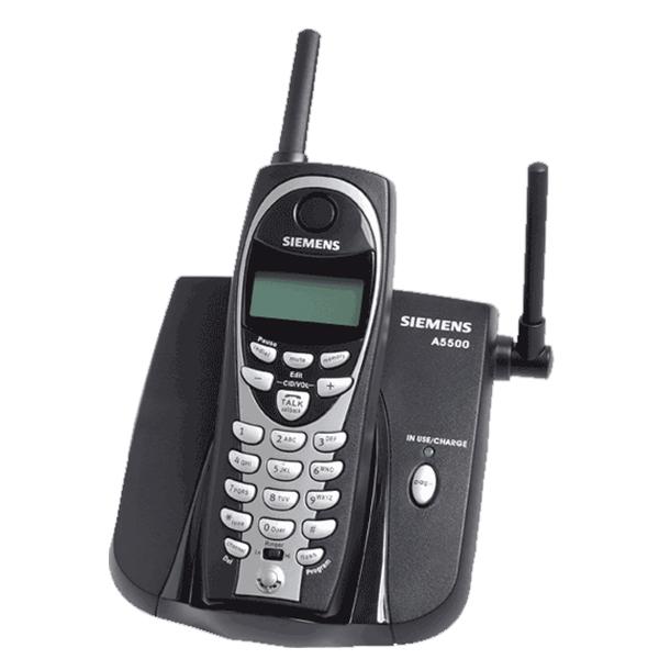 Telefone sem fio Siemens A5500 - Preto, frequência de 900 mhz, identificador de chamadas, 40 canais