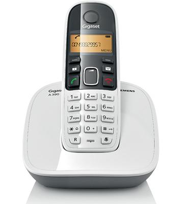 Telefone sem fio com Identificador de chamadas e Display luminoso - Siemens Gigaset A390 Branco