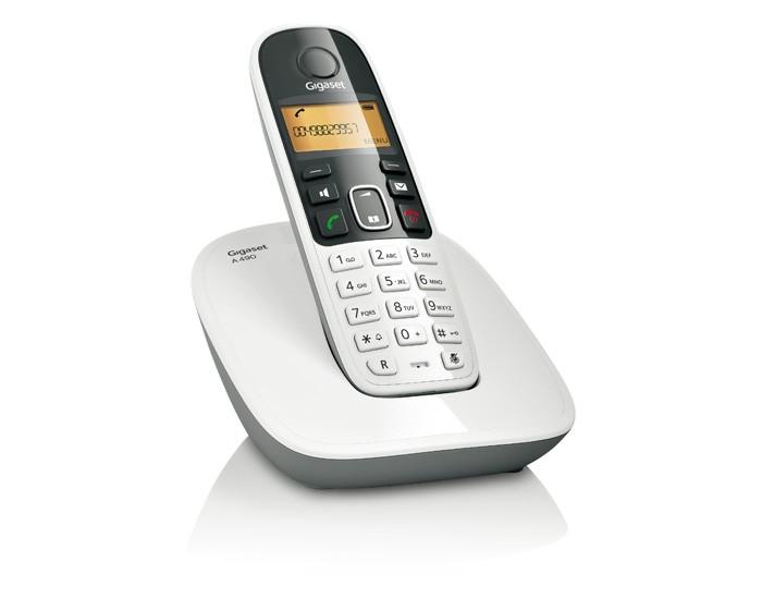 Telefone sem Fio DECT 6.0 com Viva-Voz, Id. Chamadas e Teclado Luminoso Gigaset Siemens A490 Branco