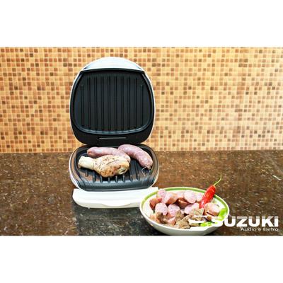 Grill Suzuki SZ-028 1WH Branco - Coletor de Gordura, antiaderente, luz indicadora, espátula para limpeza, 127V