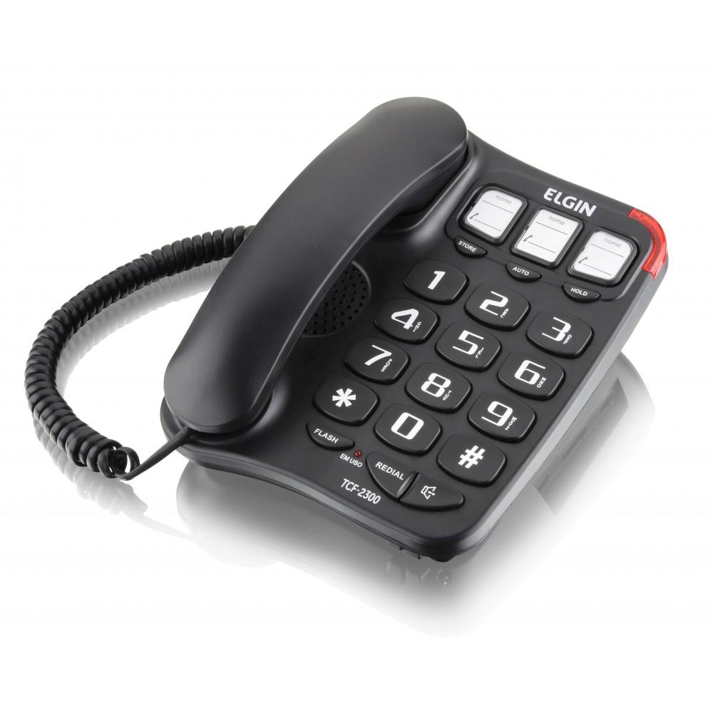 Telefone com Fio Elgin TCF2300 Chave Bloqueadora Viva-Voz Teclas Grandes