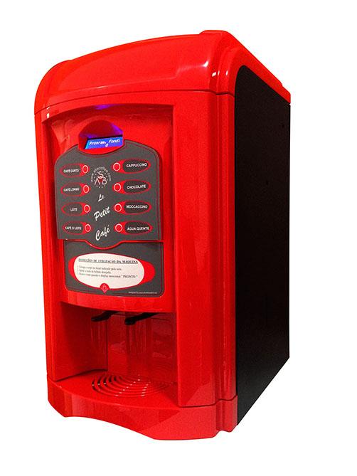 Máquina de Café Maqna Vending Le Petit Vermelha 110V - faz 8 tipos de bebidas, com moedor de café, display LCD em português