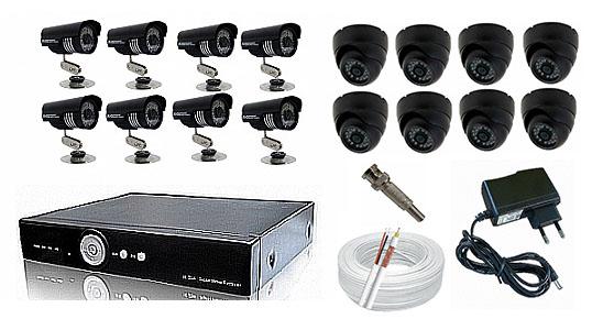 Kit CFTV Yub - DVR, 8 Câmeras Day Night, 8 Domi, 200 metros de Cabo, Fonte, Conectores
