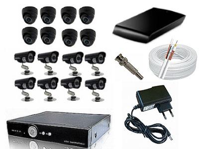 Kit CFTV Yub - DVR, 8 Câmeras Day Night, 8 Domi, HD 1 Tb, 200 metros de Cabo, Fonte, Conectores