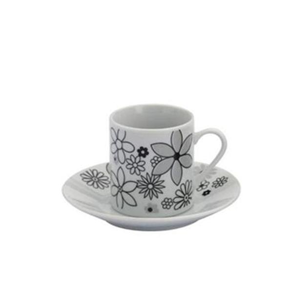 Jogo de 6 Xícaras de Café 90ml com Pires Bon Gourmet Flores Rojemac 1520