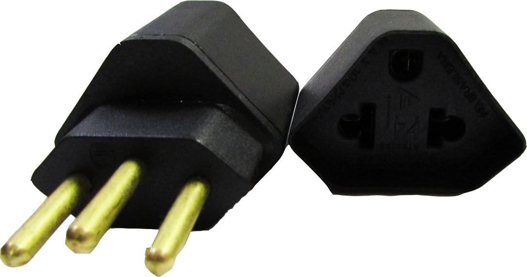 Adaptador de Tomada 3 pinos padrão antigo p/ 3 pinos padrão novo Preto