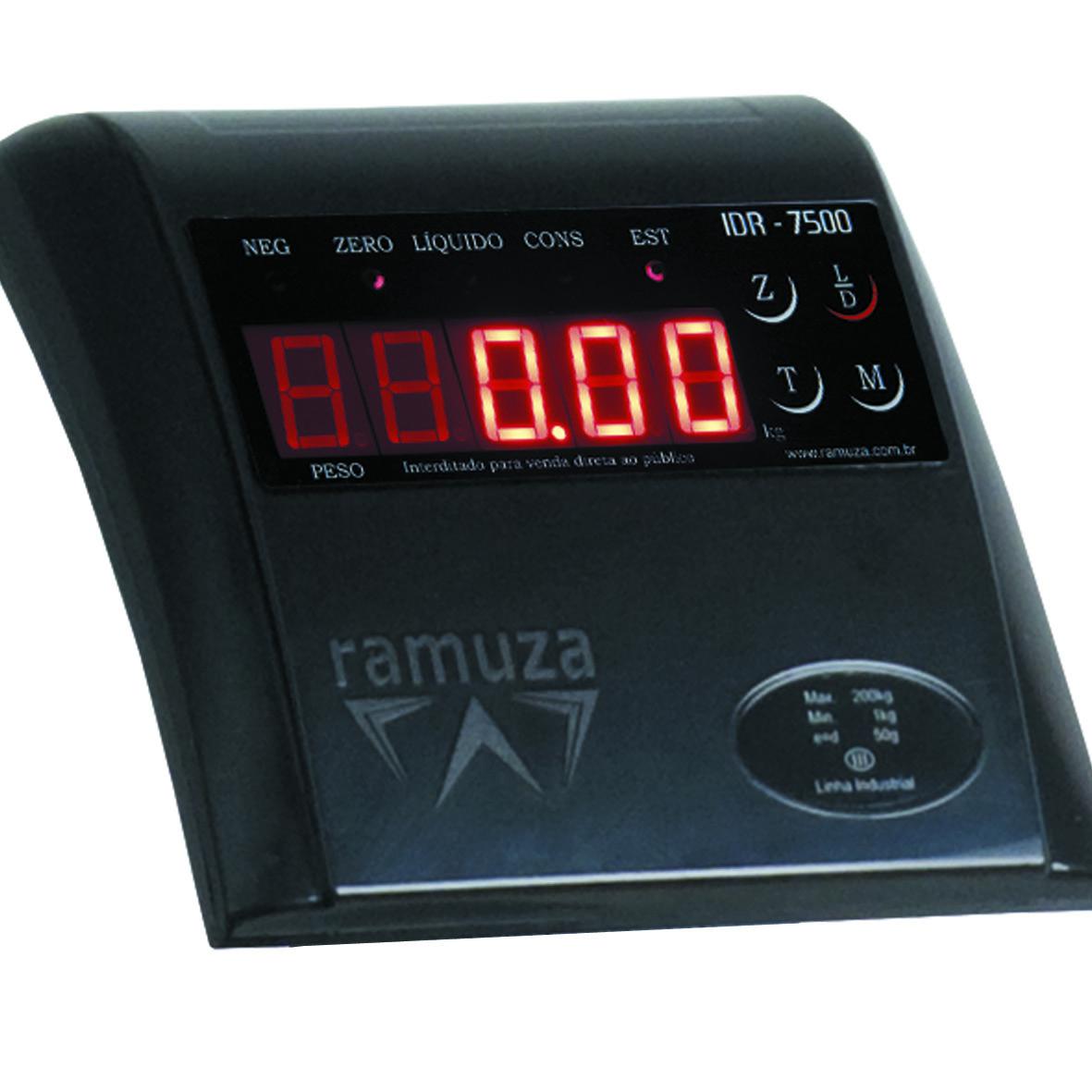 Balança Industrial Plataforma em Aço Carbono Ramuza DP - Capacidade: 500kg, Base: 60x60cm, IDR de ABS sem bateria