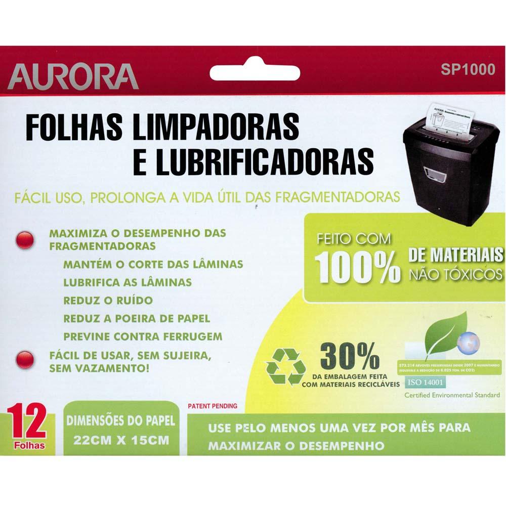 Folha Limpadora e Lubrificante para Fragmentadoras Aurora SP1000 Pacote c/ 12 folhas