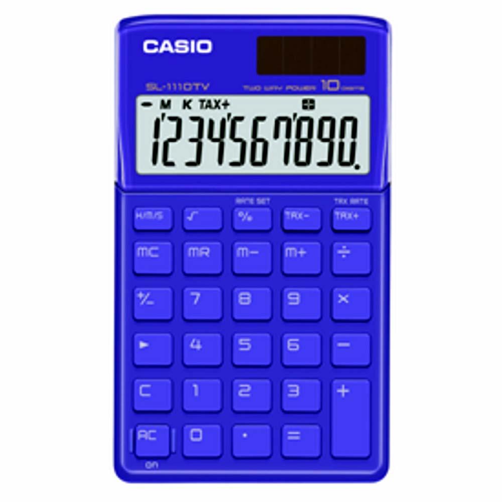 Calculadora Casio SL-1110 TV-BU Azul Alimentação Solar e Pilha - Alta Qualidade