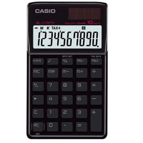 (FORA DE LINHA) Calculadora Casio SL-1110 TV-BK Preto Alimentação Solar e Pilha - Alta Qualidade