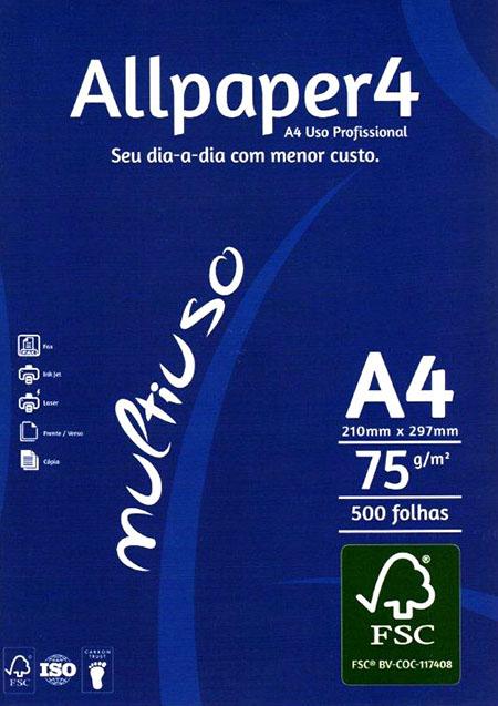 Papel sulfite A4 Branco com 5000 folhas Allpaper