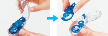 Corretivo em Fita Whiper Slide Plus Japan - 5mm e fita de 12 m, cabeca retratil e fita c/ refill, cor azul