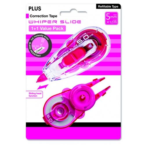 (FORA DE LINHA) Kit Corretivo em Fita Whiper Slide + Refil Plus Japan - fita c/ 5mm e fita 12M + refill 12m (24m), cor pink