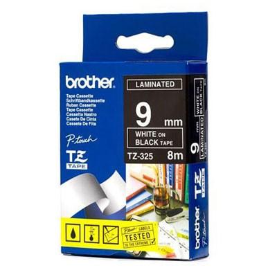 Fita Flexível Brother TZFX-325 - Largura: 9mm, Branco sobre Preto, Comprimento: 8m