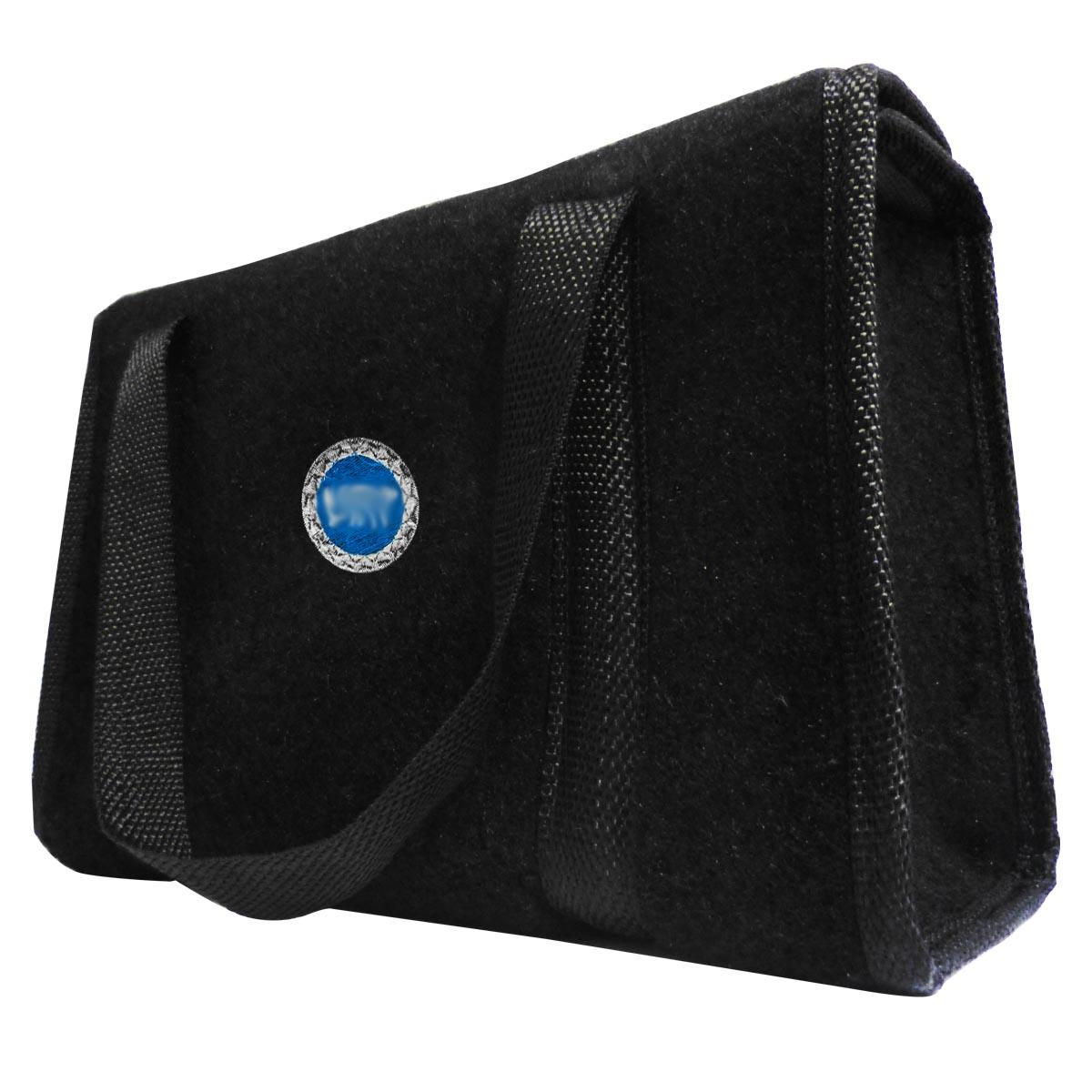 Bolsa Ferramentas Carpete Preto Velcro - Emblema Fiat Azul